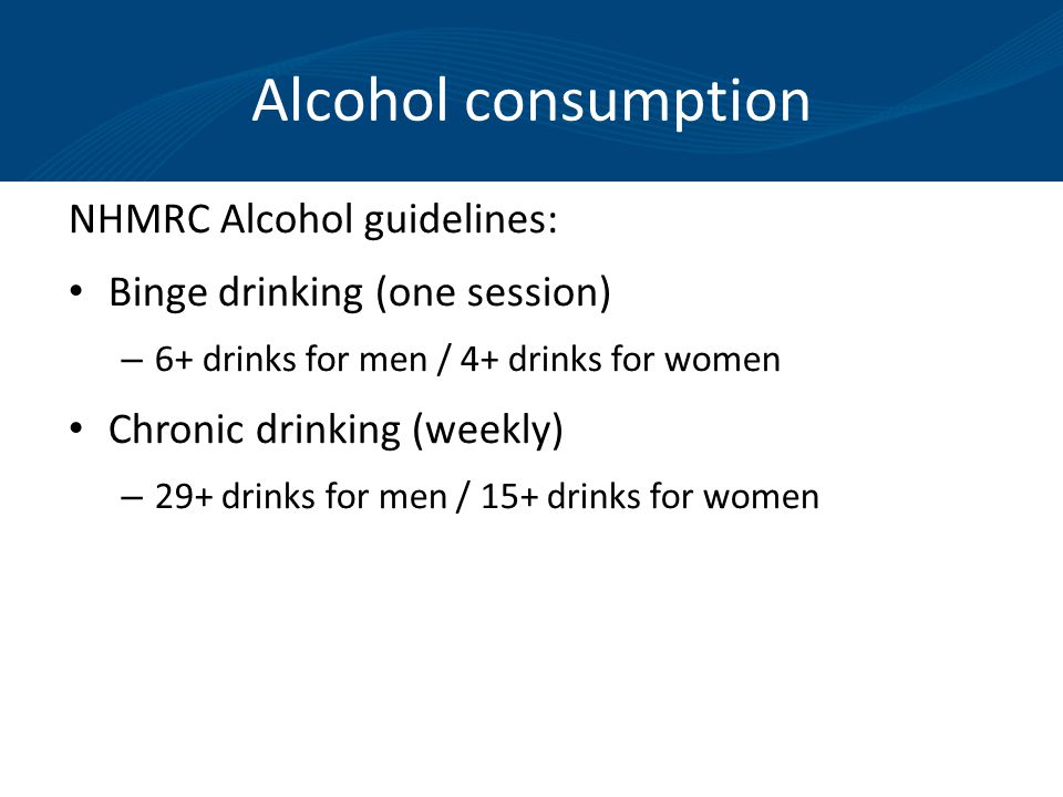 Alcohol consumption NHMRC Alcohol guidelines: Binge drinking (one session) – 6+ drinks for men / 4+ drinks for women Chronic drinking (weekly) – 29+ drinks for men / 15+ drinks for women