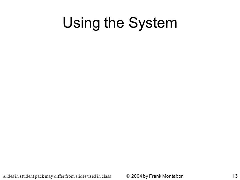Slides in student pack may differ from slides used in class © 2004 by Frank Montabon13 Using the System