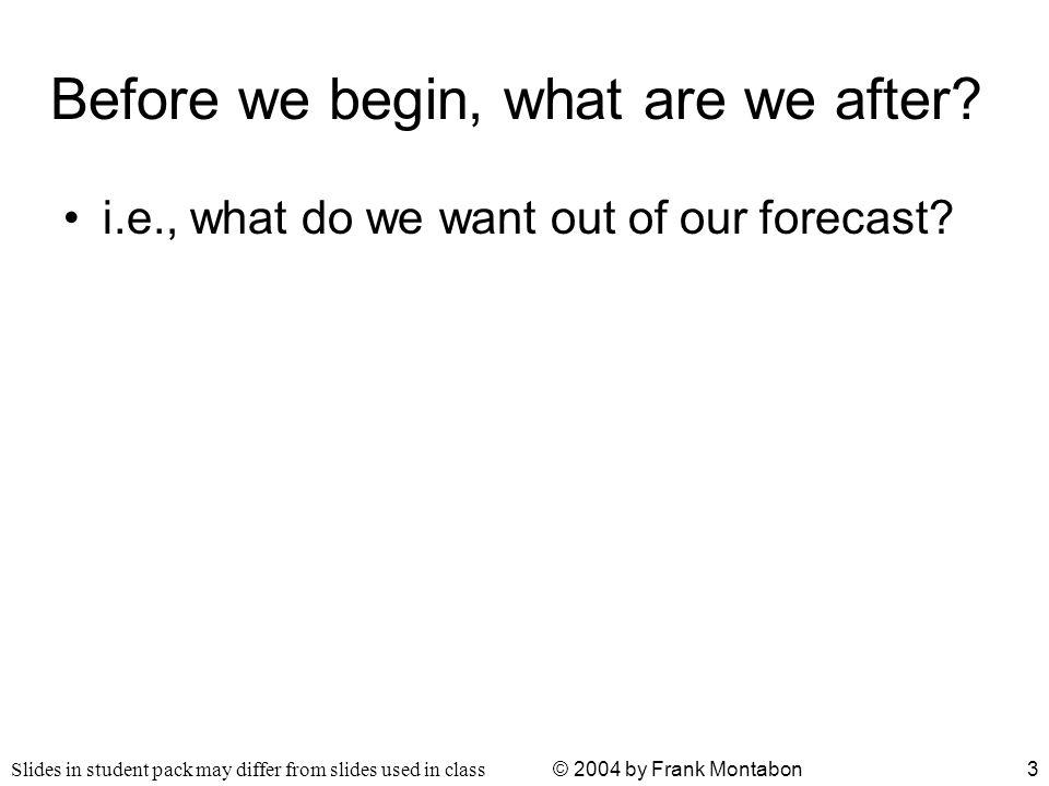 Slides in student pack may differ from slides used in class © 2004 by Frank Montabon4 Basic Forecasting Methods –What happens when you change the number of periods used.