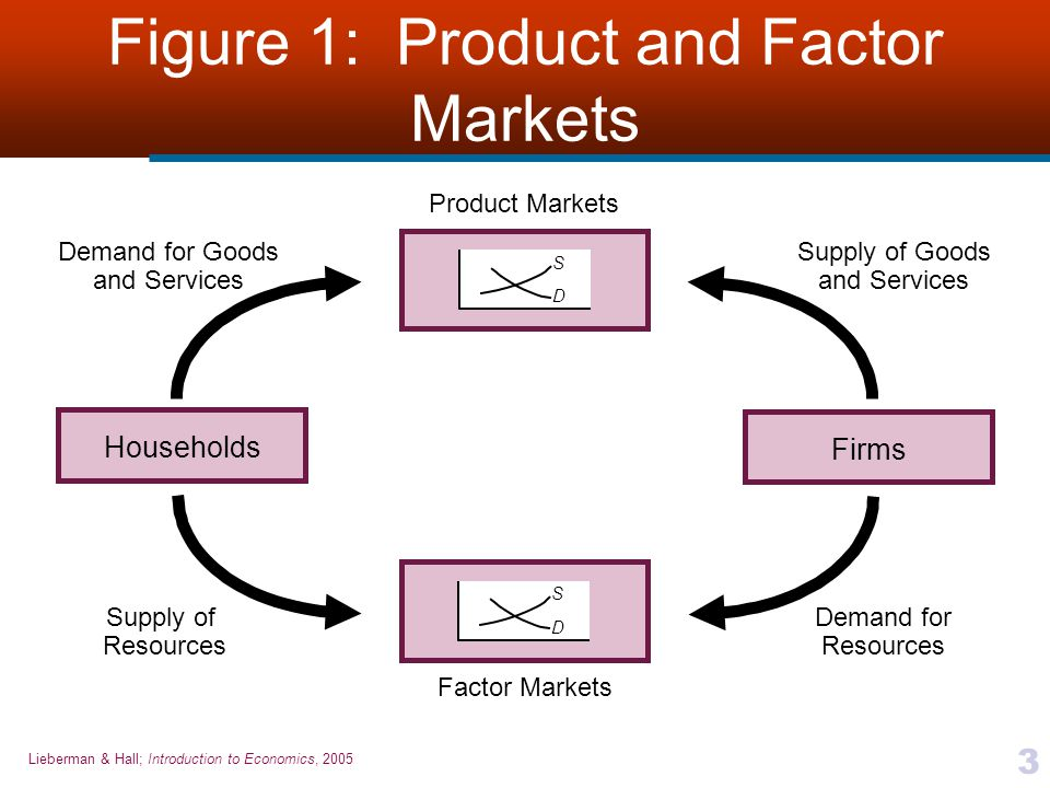 Lieberman & Hall; Introduction to Economics, 2005 3 Figure 1: Product and Factor Markets HouseholdsFirms S D Demand for Goods and Services Supply of G