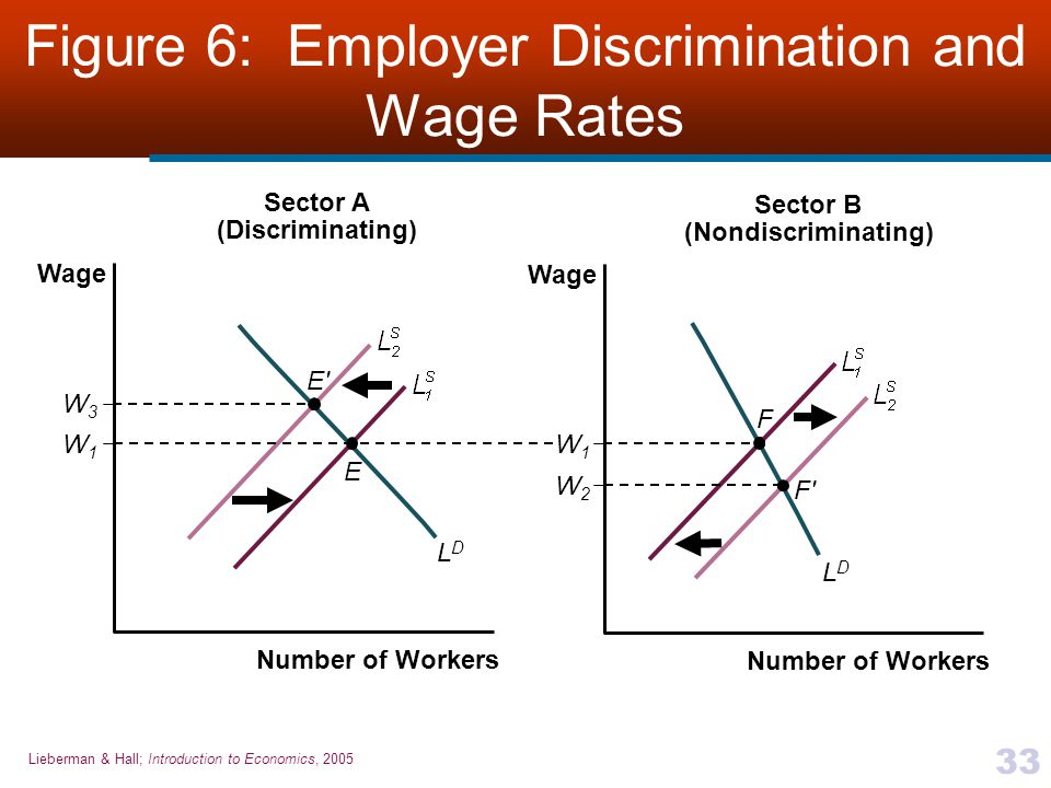 Lieberman & Hall; Introduction to Economics, 2005 33 Figure 6: Employer Discrimination and Wage Rates Number of Workers Wage W1W1 W3W3 LDLD Sector A (