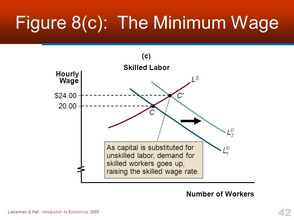 Lieberman & Hall; Introduction to Economics, 2005 42 Figure 8(c): The Minimum Wage Number of Workers Hourly Wage LSLS 20.00 $24.00 (c) Skilled Labor C