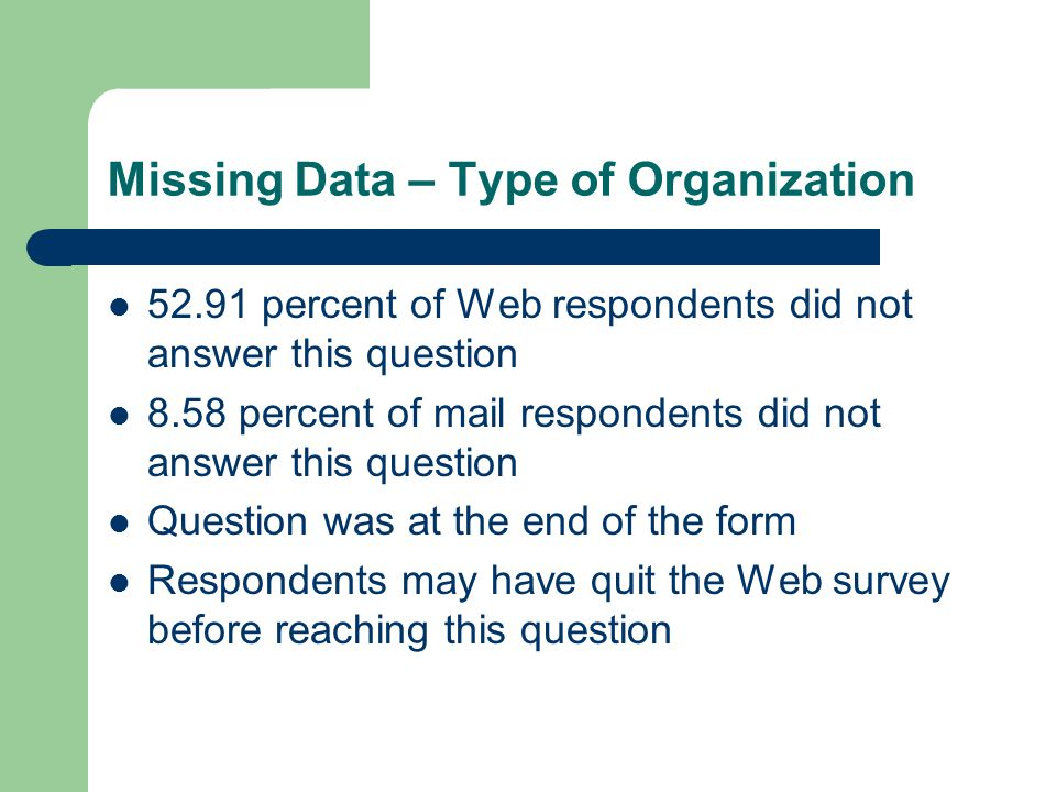 Missing Data – Type of Organization 52.91 percent of Web respondents did not answer this question 8.58 percent of mail respondents did not answer this question Question was at the end of the form Respondents may have quit the Web survey before reaching this question