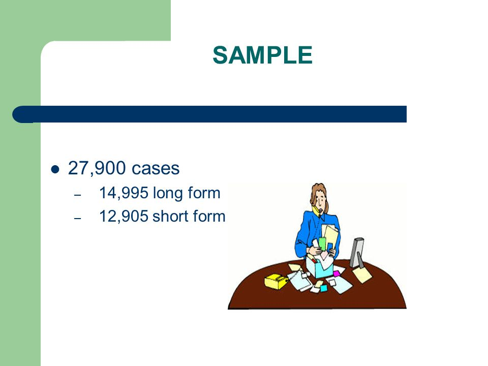 SAMPLE 27,900 cases – 14,995 long form – 12,905 short form
