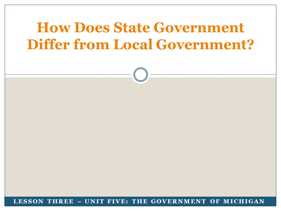 LESSON THREE – UNIT FIVE: THE GOVERNMENT OF MICHIGAN How Does State Government Differ from Local Government