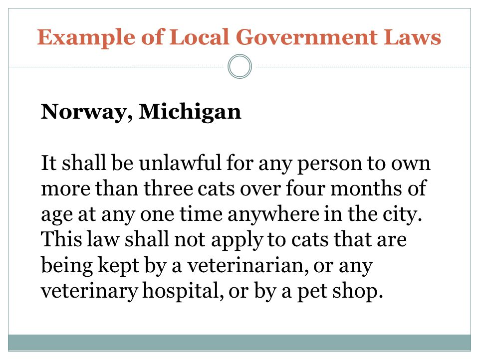 Example of Local Government Laws Norway, Michigan It shall be unlawful for any person to own more than three cats over four months of age at any one time anywhere in the city.