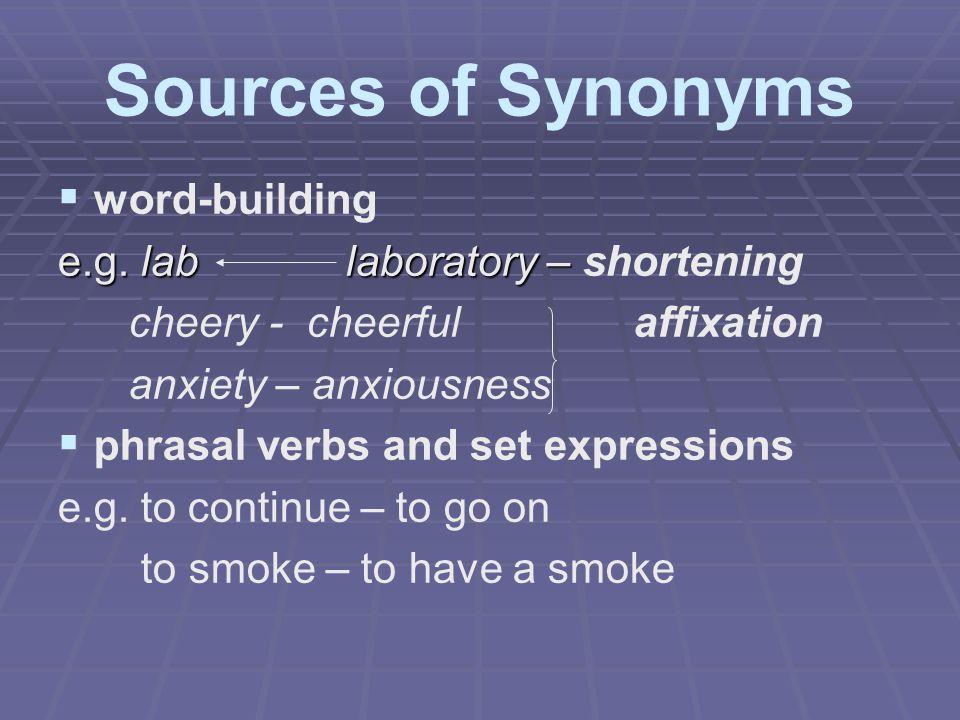 Sources of Synonyms   word-building e.g. lablaboratory – e.g. lablaboratory – shortening cheery - cheerfulaffixation anxiety – anxiousness   phras