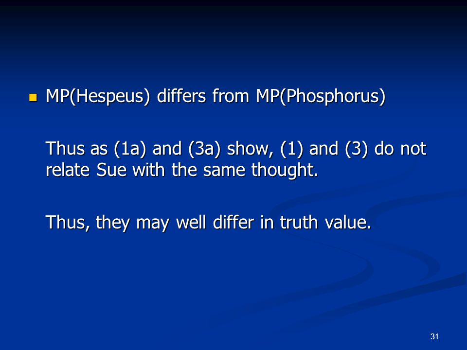 31 MP(Hespeus) differs from MP(Phosphorus) MP(Hespeus) differs from MP(Phosphorus) Thus as (1a) and (3a) show, (1) and (3) do not relate Sue with the same thought.