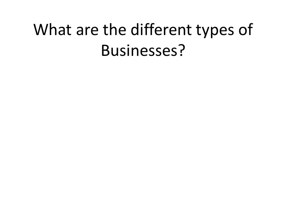 What are the different types of Businesses?