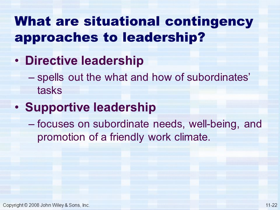 Copyright © 2008 John Wiley & Sons, Inc.11-22 What are situational contingency approaches to leadership? Directive leadership –spells out the what and