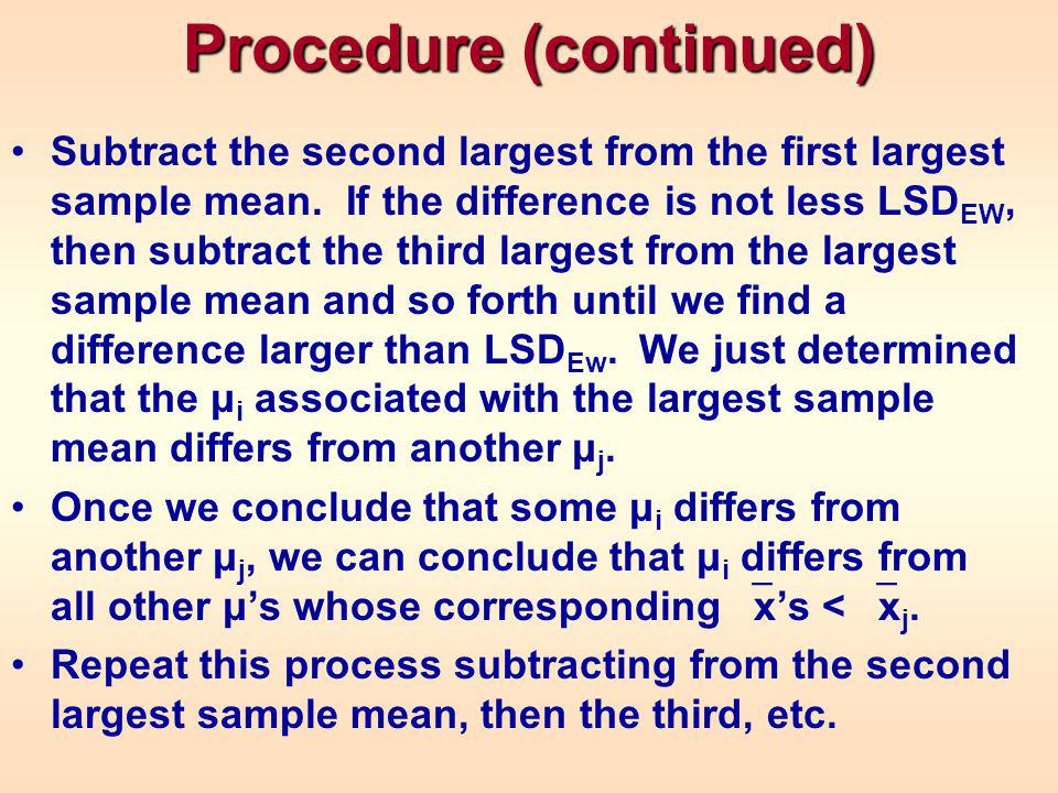 Procedure (continued) Subtract the second largest from the first largest sample mean.