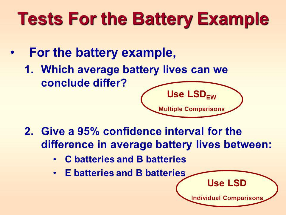 Tests For the Battery Example For the battery example, 1.Which average battery lives can we conclude differ.