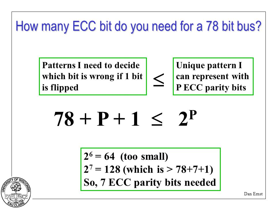 Dan Ernst How many ECC bit do you need for a 78 bit bus.