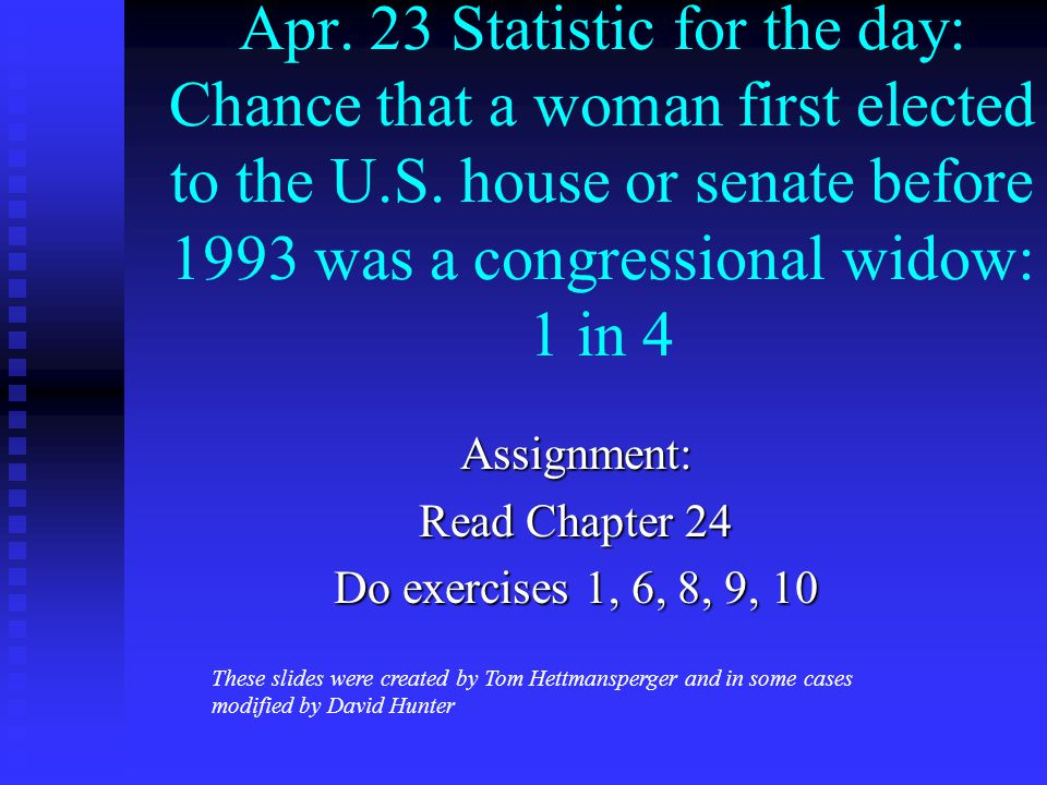 Apr. 23 Statistic for the day: Chance that a woman first elected to the U.S.