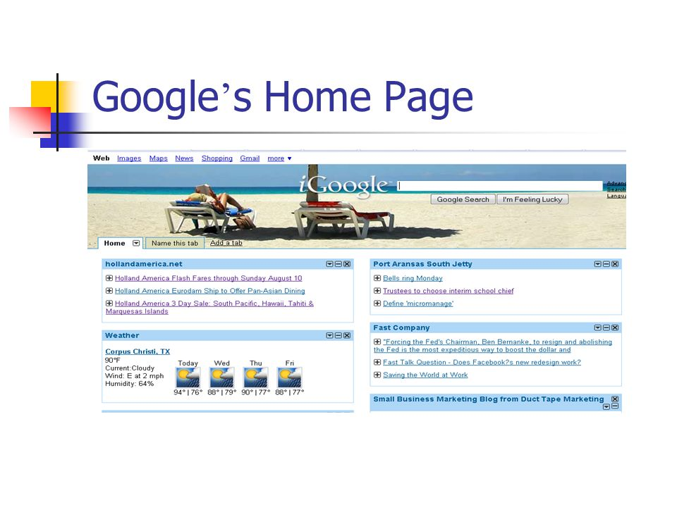 Google ' s Home Page