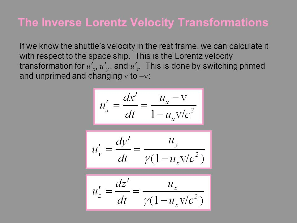 Relativistic Velocity Transformation Exercise 4-6: Suppose a shuttle takes off quickly from a space ship already traveling very fast (both in the x di