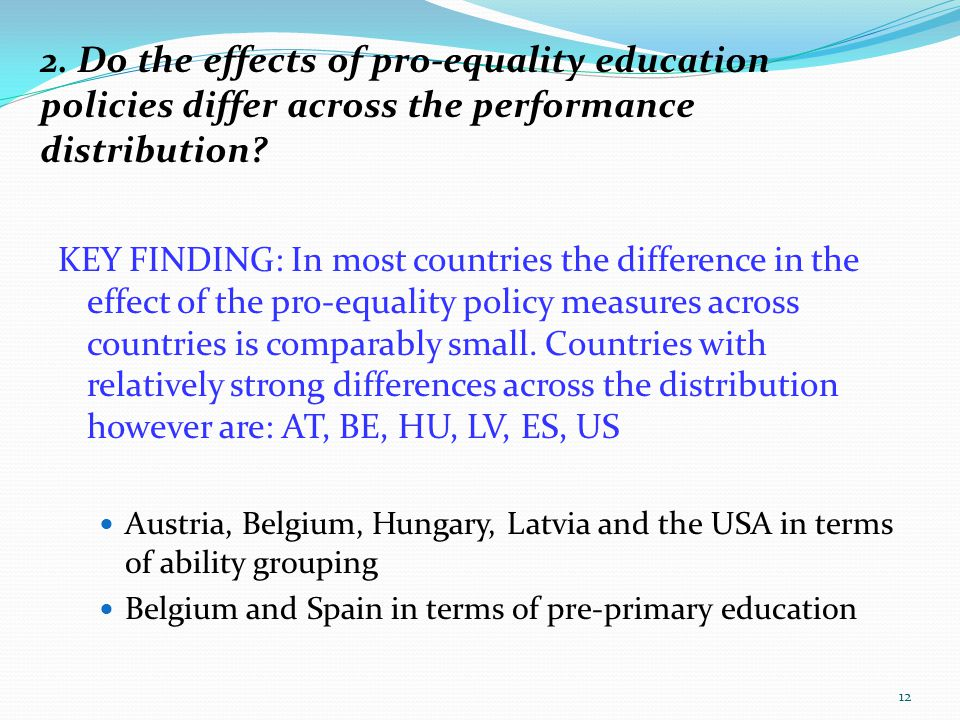2. Do the effects of pro-equality education policies differ across the performance distribution? KEY FINDING: In most countries the difference in the