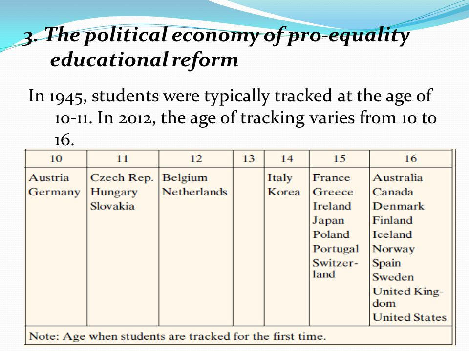 3. The political economy of pro-equality educational reform In 1945, students were typically tracked at the age of 10-11. In 2012, the age of tracking