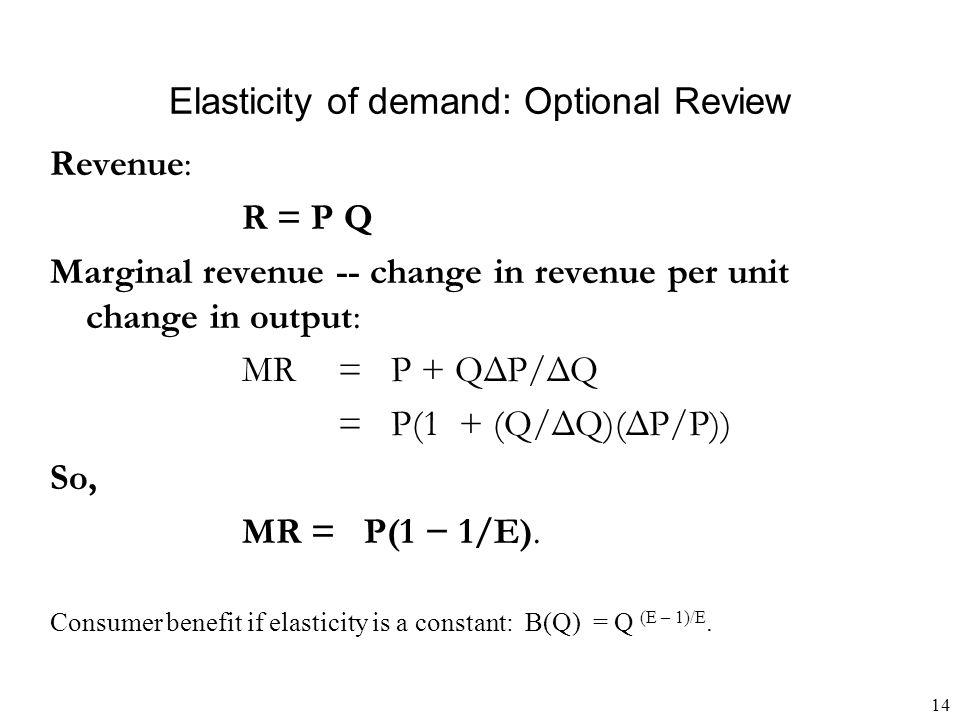 14 Elasticity of demand: Optional Review Revenue: R = P Q Marginal revenue -- change in revenue per unit change in output: MR = P + QΔP/ΔQ = P(1 + (Q/ΔQ)(ΔP/P)) So, MR = P(1 − 1/E).