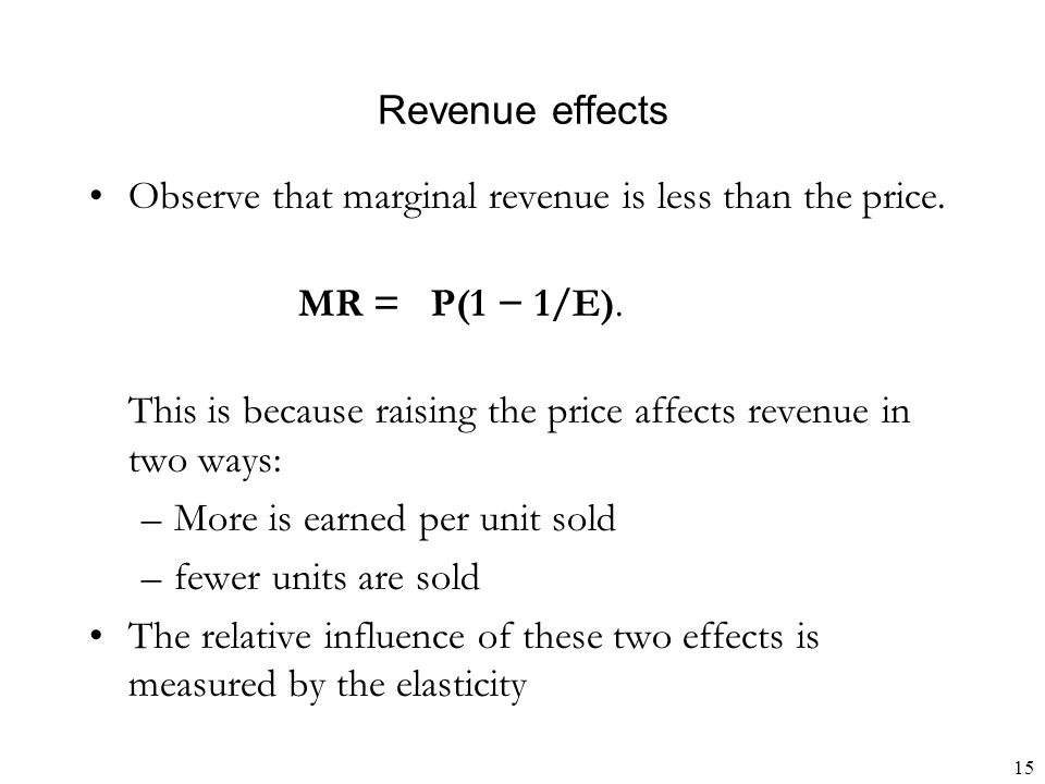 15 Revenue effects Observe that marginal revenue is less than the price.