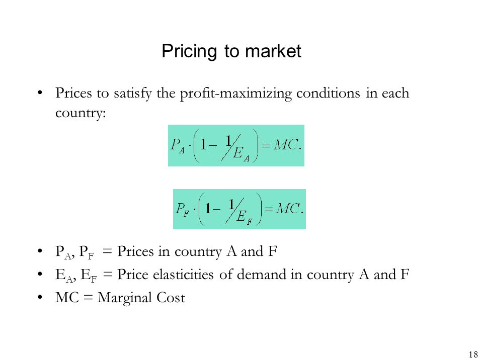 18 Pricing to market Prices to satisfy the profit-maximizing conditions in each country: P A, P F = Prices in country A and F E A, E F = Price elastic