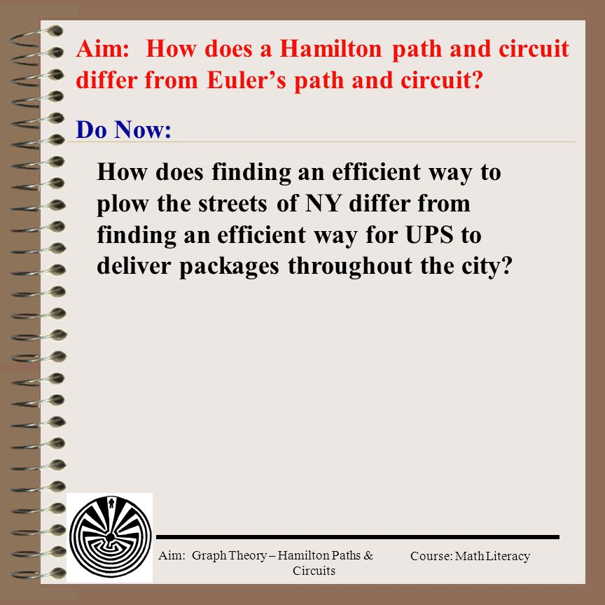Aim: Graph Theory – Hamilton Paths & Circuits Course: Math Literacy Do Now: Aim: How does a Hamilton path and circuit differ from Euler's path and cir