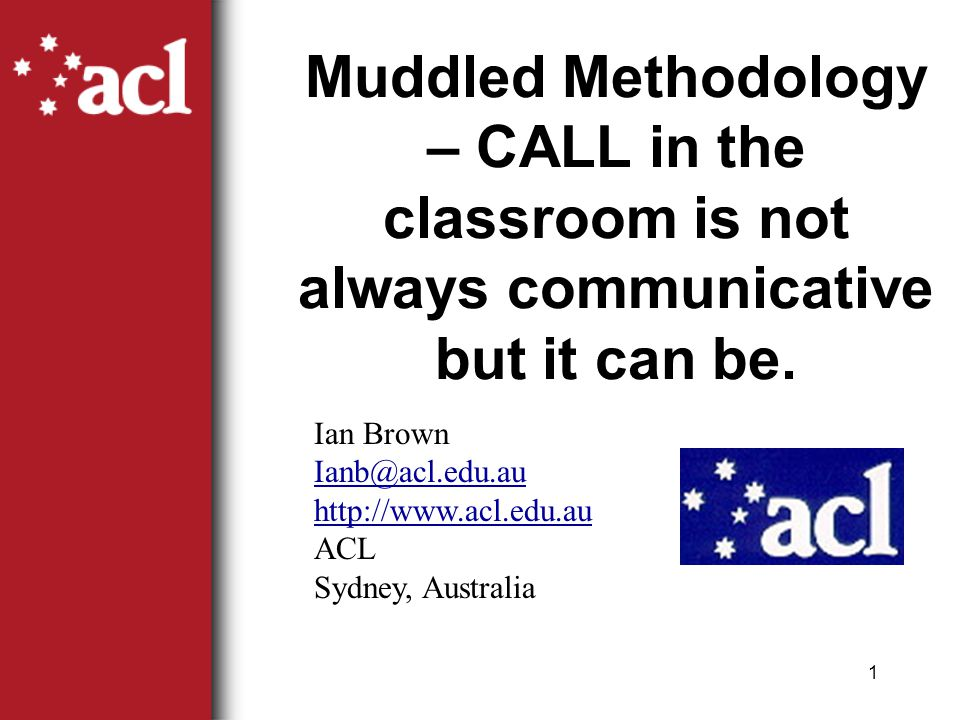 1 Muddled Methodology – CALL in the classroom is not always communicative but it can be.