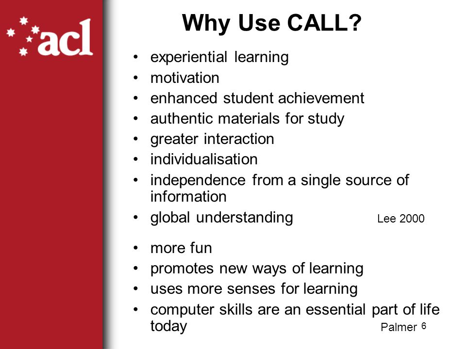 6 Why Use CALL.