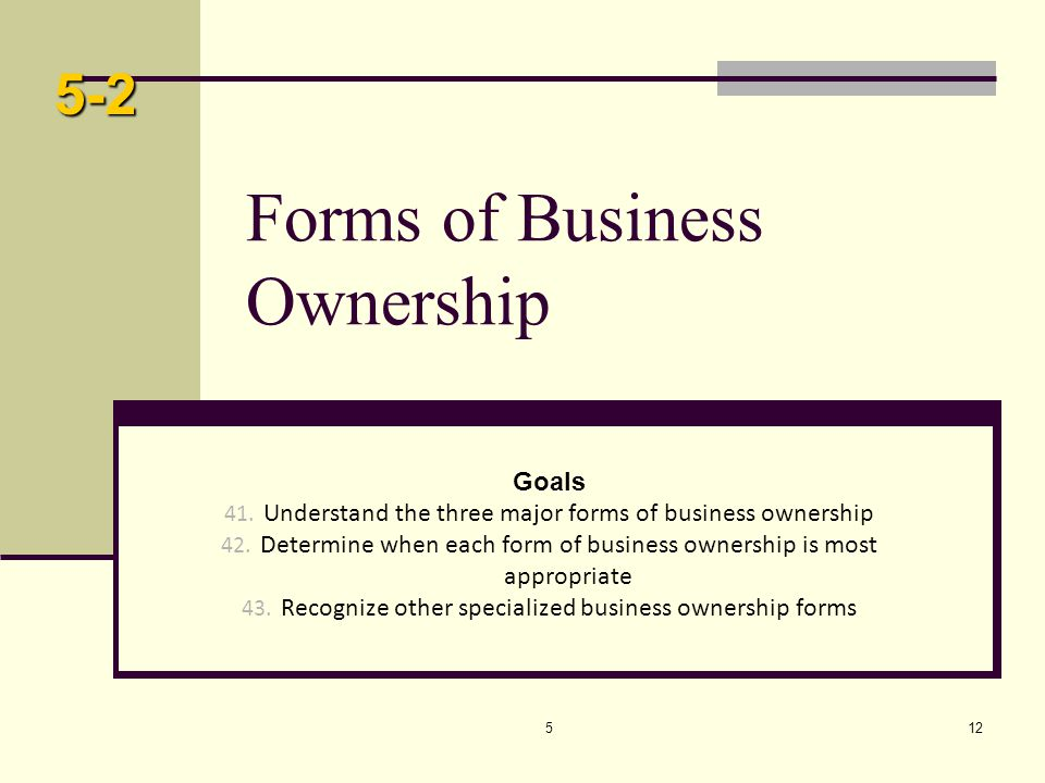 512 Forms of Business Ownership Goals 41. Understand the three major forms of business ownership 42. Determine when each form of business ownership is