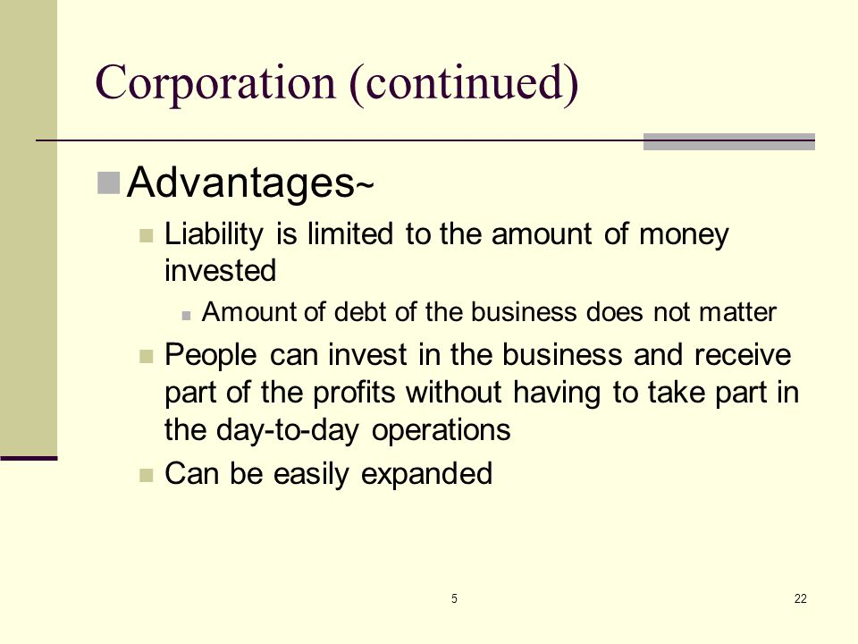 522 Corporation (continued) Advantages ~ Liability is limited to the amount of money invested Amount of debt of the business does not matter People ca