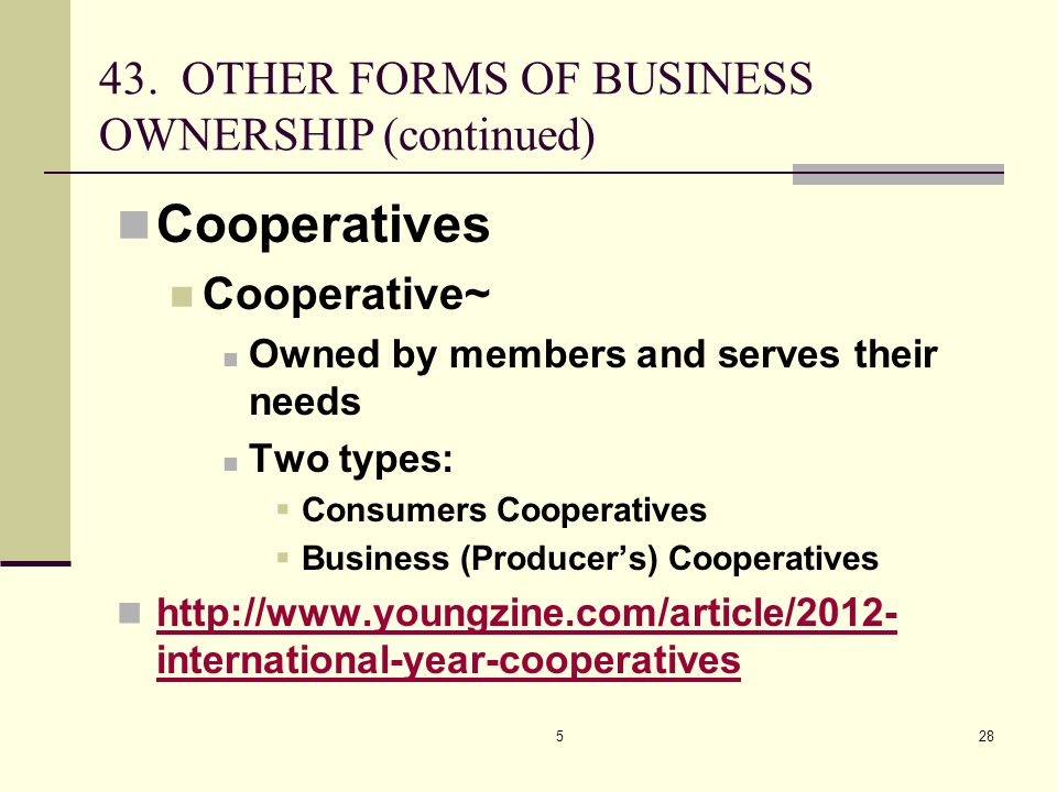 528 Cooperatives Cooperative~ Owned by members and serves their needs Two types:  Consumers Cooperatives  Business (Producer's) Cooperatives http://