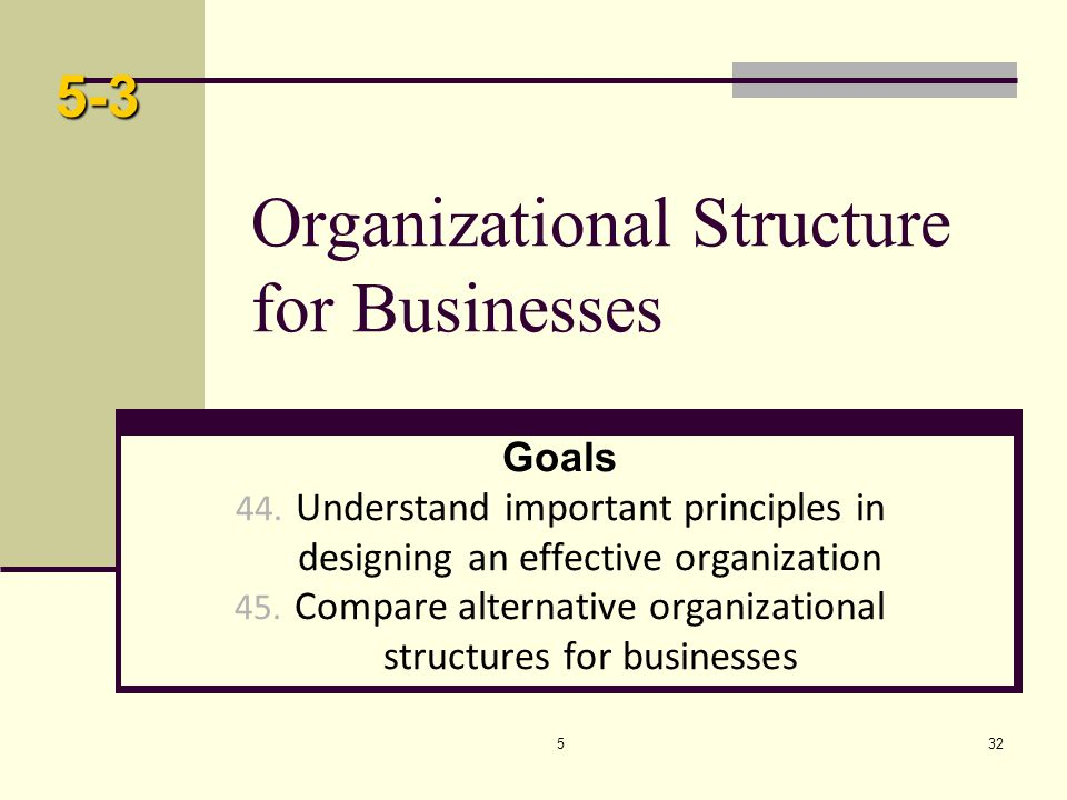 532 Organizational Structure for Businesses Goals 44. Understand important principles in designing an effective organization 45. Compare alternative o
