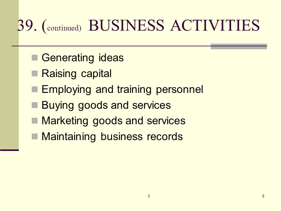 58 39. ( continued) BUSINESS ACTIVITIES Generating ideas Raising capital Employing and training personnel Buying goods and services Marketing goods an