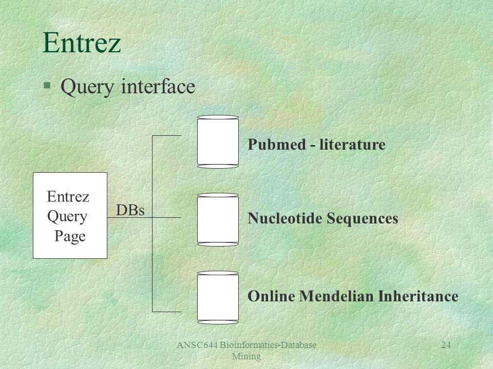ANSC644 Bioinformatics-Database Mining 24 Entrez §Query interface Entrez Query Page Pubmed - literature Nucleotide Sequences Online Mendelian Inheritance DBs