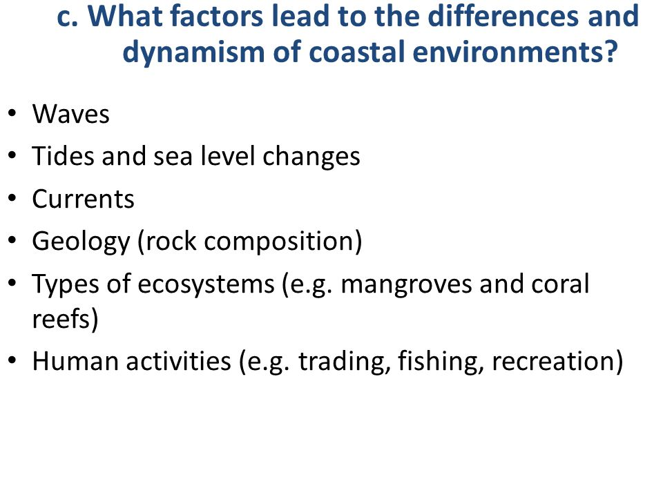 Waves Tides and sea level changes Currents Geology (rock composition) Types of ecosystems (e.g. mangroves and coral reefs) Human activities (e.g. trad