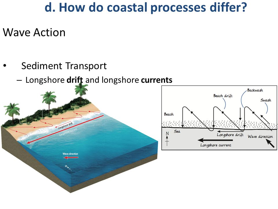 Wave Action Sediment Transport – Longshore drift and longshore currents d.