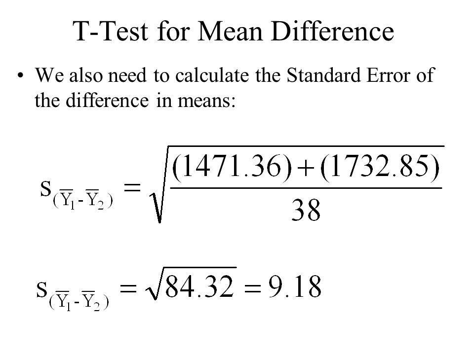 T-test for Mean Difference Plugging in Values: