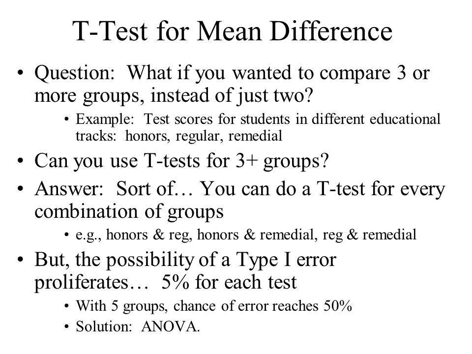 T-Test for Mean Difference Question: What if you wanted to compare 3 or more groups, instead of just two? Example: Test scores for students in differe