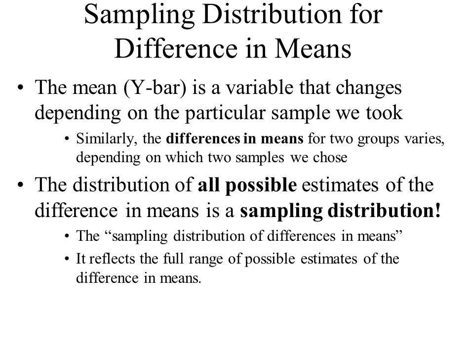 Mean Differences for Small Samples Sample Size: rule of thumb Total N (of both groups) > 100 can safely be treated as large in most cases Total N (of both groups) < 100 is possibly problematic Total N (of both groups) < 60 is considered small in most cases If N is small, the sampling distribution of mean difference cannot be assumed to be normal Again, we turn to the T-distribution.