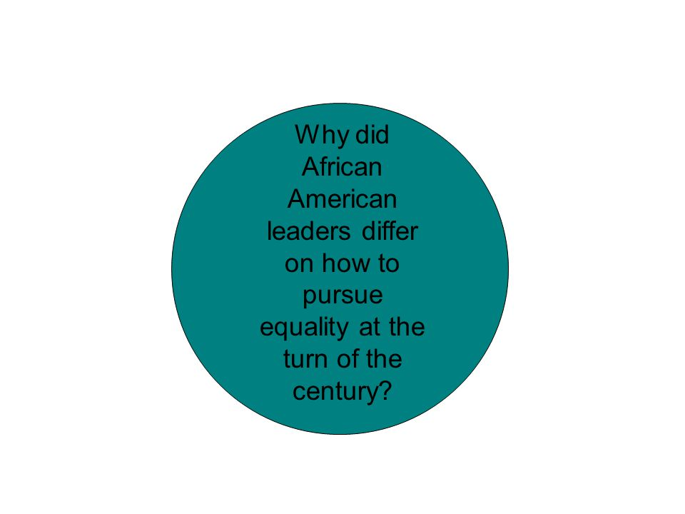 Why did African American leaders differ on how to pursue equality at the turn of the century