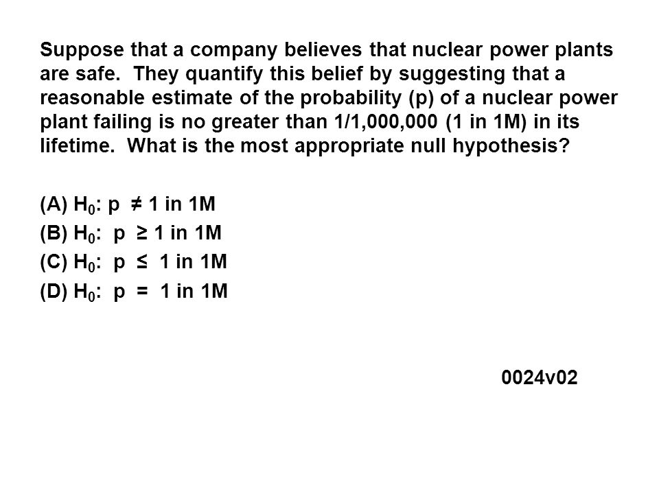 Suppose that a company believes that nuclear power plants are safe.