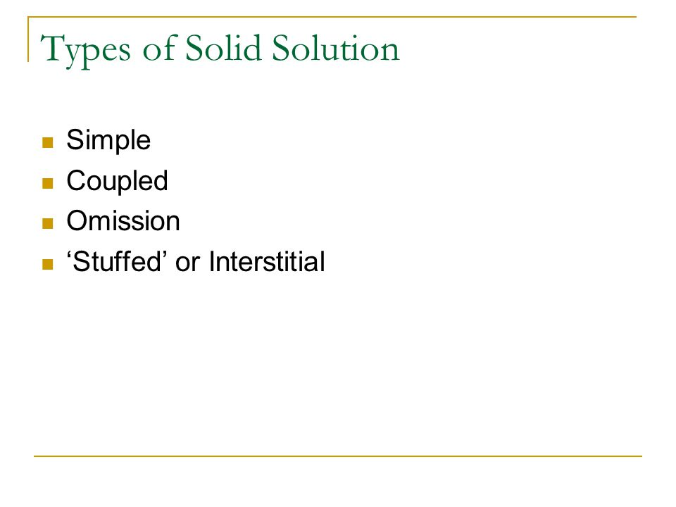 Types of Solid Solution Simple Coupled Omission 'Stuffed' or Interstitial