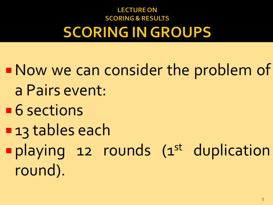  Now we can consider the problem of a Pairs event:  6 sections  13 tables each  playing 12 rounds (1 st duplication round).
