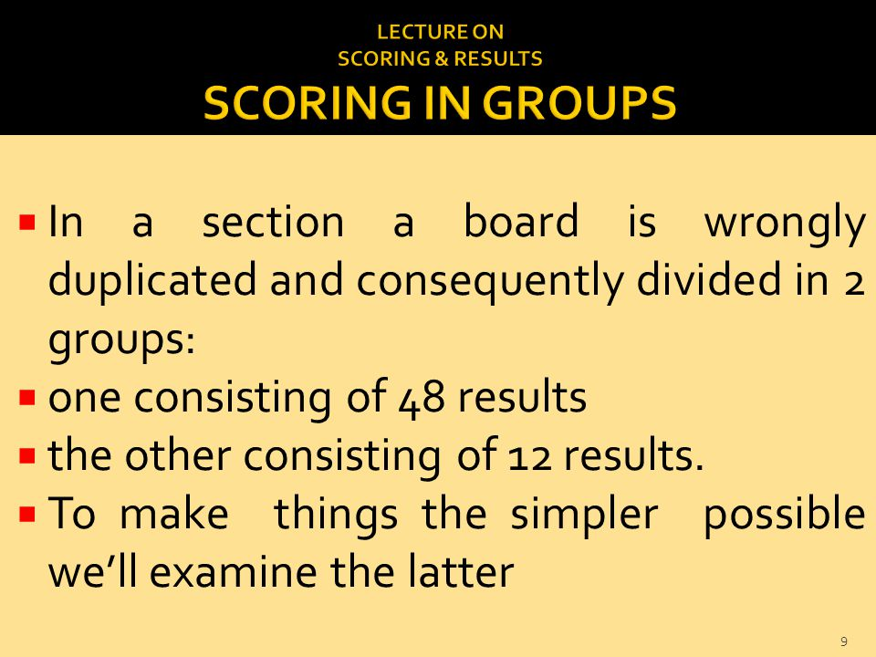  In a section a board is wrongly duplicated and consequently divided in 2 groups:  one consisting of 48 results  the other consisting of 12 results.