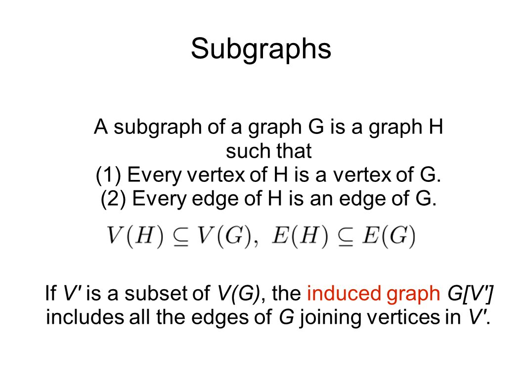 Subgraphs A subgraph of a graph G is a graph H such that (1) Every vertex of H is a vertex of G.