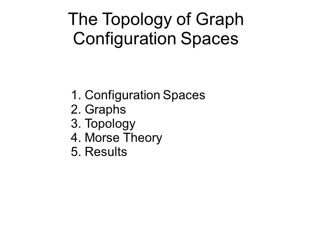 The Topology of Graph Configuration Spaces 1.Configuration Spaces 2.