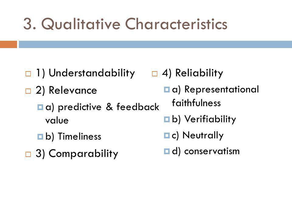 3. Qualitative Characteristics  1) Understandability  2) Relevance  a) predictive & feedback value  b) Timeliness  3) Comparability  4) Reliabil