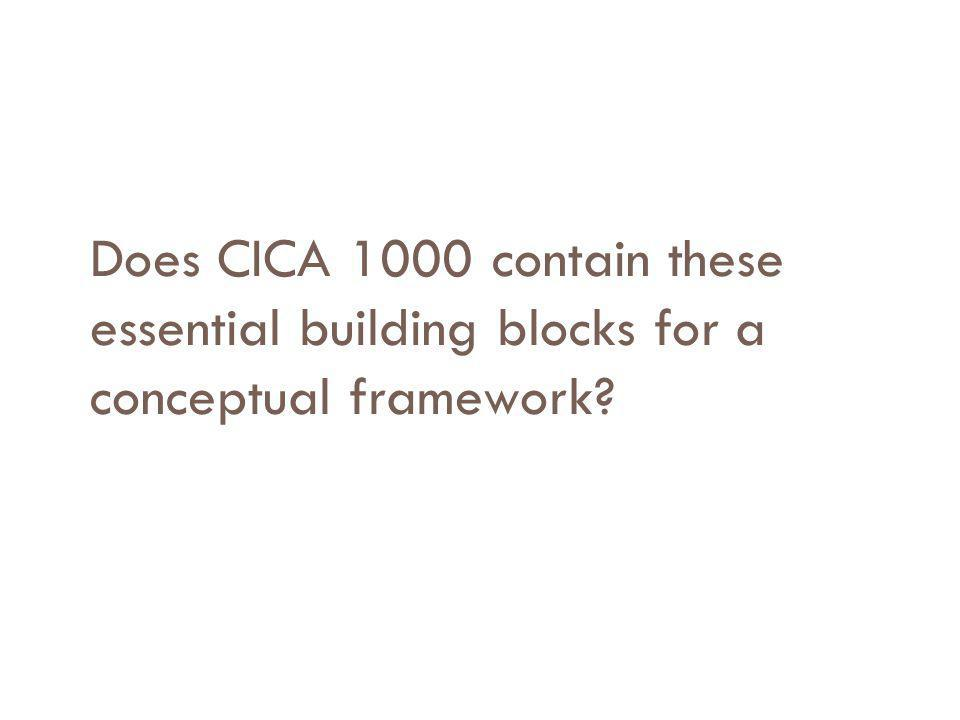 Does CICA 1000 contain these essential building blocks for a conceptual framework?