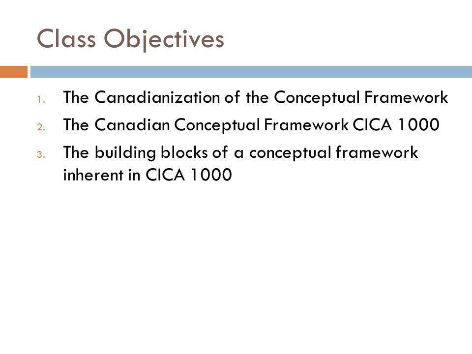 Class Objectives 1. The Canadianization of the Conceptual Framework 2.