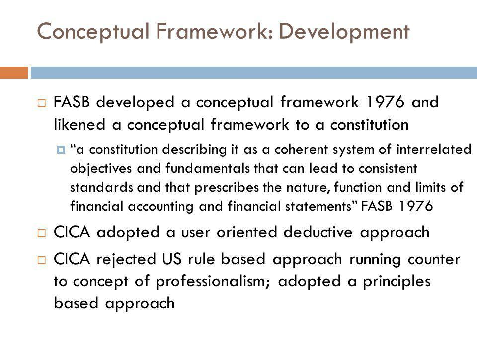 Conceptual Framework: Development  FASB developed a conceptual framework 1976 and likened a conceptual framework to a constitution  a constitution describing it as a coherent system of interrelated objectives and fundamentals that can lead to consistent standards and that prescribes the nature, function and limits of financial accounting and financial statements FASB 1976  CICA adopted a user oriented deductive approach  CICA rejected US rule based approach running counter to concept of professionalism; adopted a principles based approach